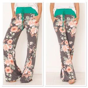 Charcoal Floral Lounge Pants